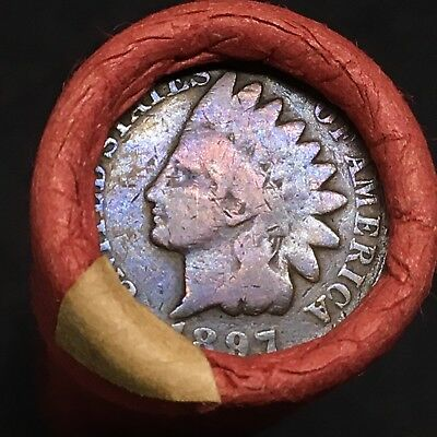 Best Of The Estate!!! Very Rare Toned 1897 Indian Head End Mixed Penny Roll R461