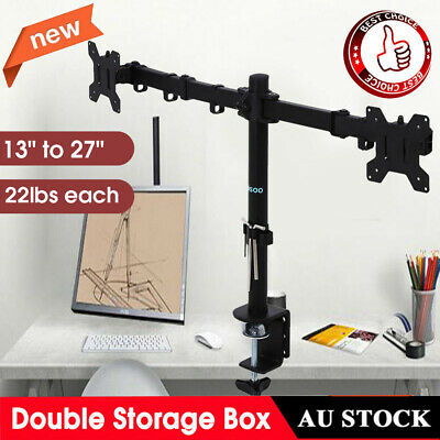 "AU Dual LCD Monitor Computer Desk Mount Stand Adjustable Screen 13""-27"" 2 Arms"