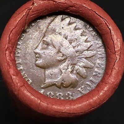 Old Estate! Wheat Head Penny Roll! Rare Very Crisp 1883 Indian Head On End! R466