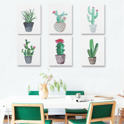 Modern Watercolor Green Cactus Plant Canvas Painting Art Print Home Wall Decor