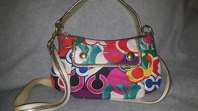 d866be279fc COACH POPPY GROOVY POP C SIGNATURE MULTICOLOR & GOLD PURSE HANDBAG  100%Authentic