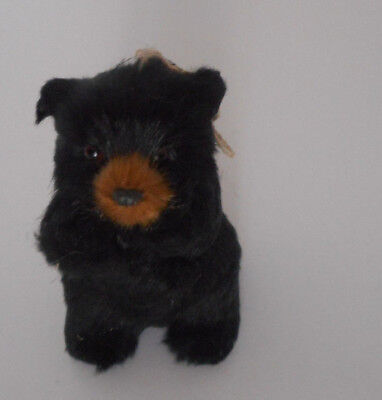 Adorable!black bear ornament Christmas holiday faux fur new with tags