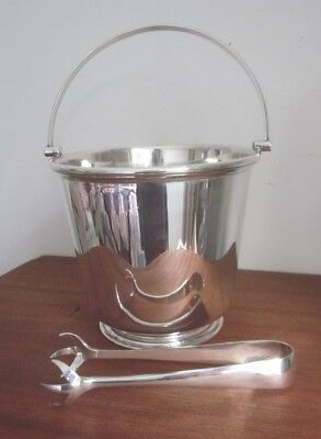 JAMES DIXON & Sons silver plated ICE BUCKET & TONGS incl.water drainer