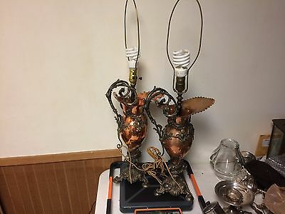 Antique Victorian Bronze Spelter & Copper Ewers Figural Neptune Fish Lamps