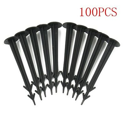 100x Plastic Ground Fixing Peg For Groundsheet Tent Weed Control Fabric Camping