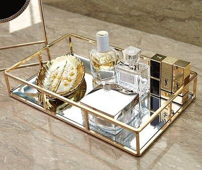 12'' x 8'' Mirror Tray Mirrored Vanity Tray Jewelry Decorative Trays Metal Gold