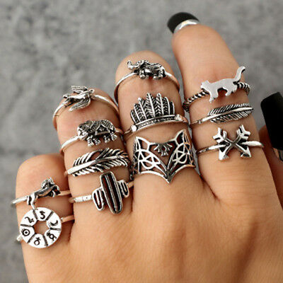 12pcs New Bohemian Vintage Women Silver Finger Rings Punk Ring Gift vnc
