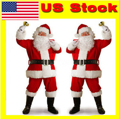 Adult Santa Claus Costume Adult Suit Christmas Outfit Fancy Dress Red Costume US