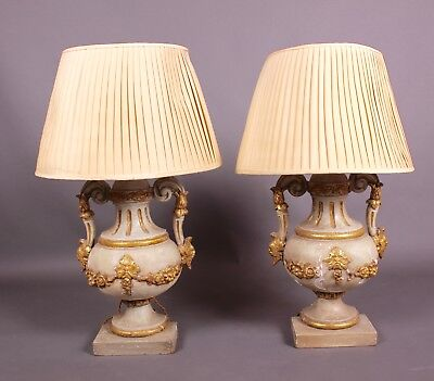 A Pair of Antique Venetian Urn Lamps Early C19th