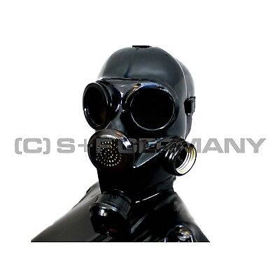 Gasmaske + Latex Maske Set F. Fetish Cosplay Haube Catsuit Kleid Handschuhe Body