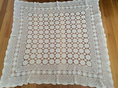 Vintage Hand Crochet Table Cloth