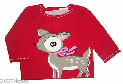 NEW Next Baby Girls Deer Jumper Age 6 9 Months Retro Novelty Cute Red Christmas