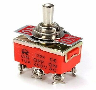 Auto Car Boat 6 Pin 15A 250V Car Tip Toggle DPDT ON-OFF-ON Switch 12V 220-250V
