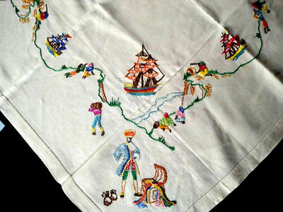 """""""A'hoy there me Mateys"""" ~Pirate/Treasure/Ships -Vint Hand Embroidered Tablecloth"""