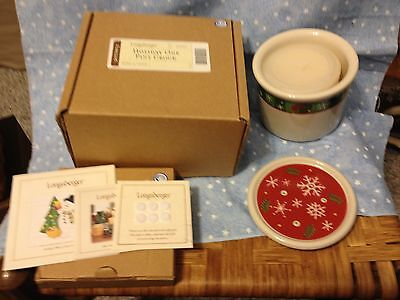 Longaberger Holiday One Pint Crock, Lid and Vanilla Candle