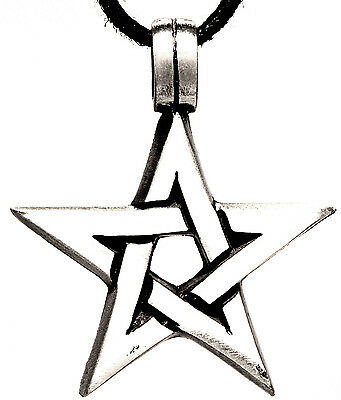 Pentagram Guardian Magic Protective Amulet Pendants Pewter Band / Necklace 70