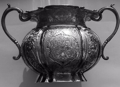 Museum Quality Large Heavy Antique Islamic Solid Silver Twin Handled Bowl; c1890