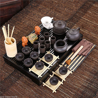 Chinese teaset solid wood tea tray plastic drawer yixing kung fu tea set pot cup
