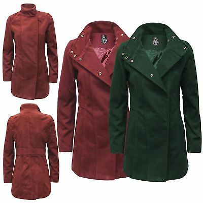 Women Ladies Ex-Primark Brushed Fleece Coat Double Breasted Trench Long Jacket