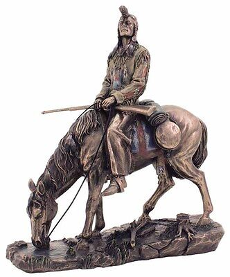 "Blackfeet Indian & Horse Statue Native Figurine Warrior 9.5"" (3169)"