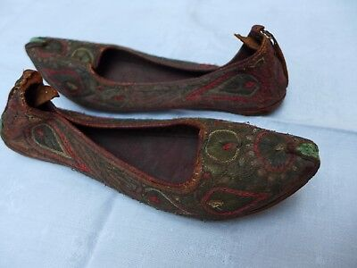 Antique Silver Wire Work Turkish Childs Leather Shoes 19th Century Ottoman