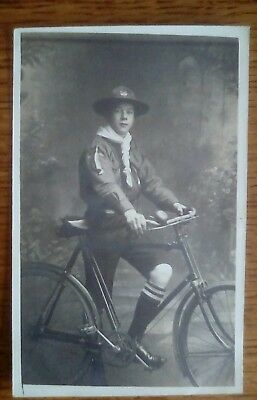 Real Photo Scout postcard with bicycle from a Staffordshire collection