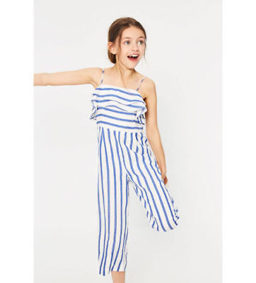 Zara Girls STRIPED JUMPSUIT WITH RUFFLES - various sizes - new with tags RRP £20
