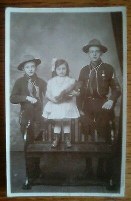 Real Photo Scout postcard + girl with teddy bear from Staffordshire collection