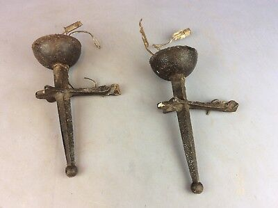Vintage Pair Of Iron Wall Candle Sconces Ship Worldwide