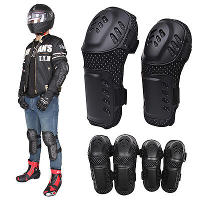 Motorcycle Hard Stainless Racing Riding Elbow Knee Pads Armor Protector Guard