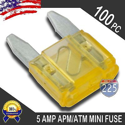 100 Pack 5A Mini Blade Style Fuses APM/ATM 32V Short Circuit Protection Car Fuse