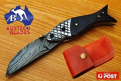 "Damascus Steel Custom Handmade 7.1"" Hunting Folding Pocket Knife - Bull Horn"