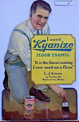 Vintage Art Deco 1920s Diecut Cardboard Kyanize Enamel Paint Wollaston MA Sign