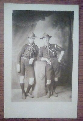 Real Photo 2 Scouts, 1 named E Hadley postcard by Seaman's studio Staffordshire