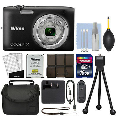 Nikon Coolpix S2800 20.1 MP Digital Camera 5x Optical Zoom Black + 16GB Kit