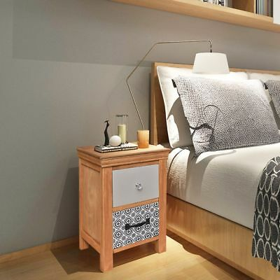 Small Bedside Cabinet Nightstand Solid Wood 2 Drawers Storage Bedroom Furniture