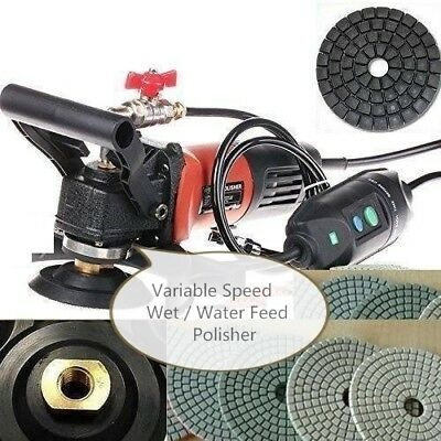 "5"" Variable Speed Concrete Cement Wet Polisher Grinder & Diamond Pad DAMO BUFF"