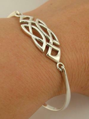 Hallmarked Solid Sterling Silver Past Times Celtic Knotwork Bangle Bracelet
