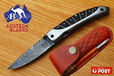 "Damascus Steel Custom Handmade 6.4"" Camping Folding Pocket Knife - Black Wood"