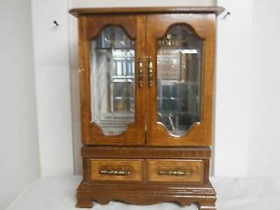 Vintage Wood Large Jewelry Box Chest Star Etched Glass Doors Carousel
