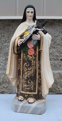 """+ Wood Carved Spanish Statue of St. Therese + 11 1/2"""" + Hand Carved + CU21 +"""