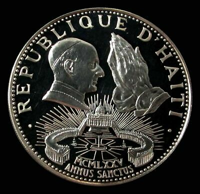 1974 Silver Haiti Proof 50 Gourdes Pope Paul In St Peters Square Only 960 Minted