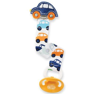 New MUD PIE Baby Toddler PACIFIER PACY CLIP Embroidered Car Ribbon