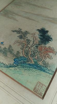 delicate oriental antique ink painting in ebonised frame