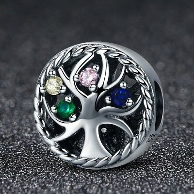 Stunning 925 Sterling Silver Colourful Tree Of Life Charm