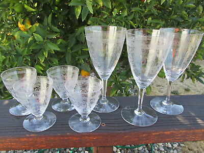 Lot Of 7 Heisey Frontenac 4 Sherry 3 Water/wine Etched Crystal Glasses Vintage