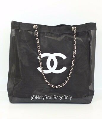 Chanel VIP Mesh Tote - Beauty Gift Tote - Mesh with Silver Hardware Chain Straps