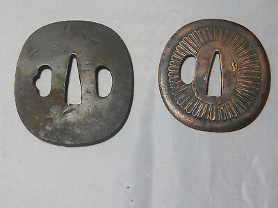 LOT of 2 TSUBA JAPANESE SWORD BRASS MOUNTINGS   WW II VET BRING BACK