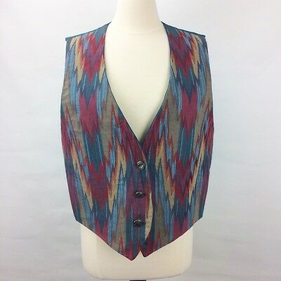 Large Womens 80s Boho Multi Colored Southwest Santa Fe Vest L G1