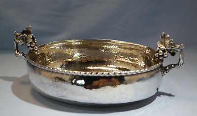 Armaos Greek Sterling Silver Hand Hammered Grape-Vine Bowl 20th Century